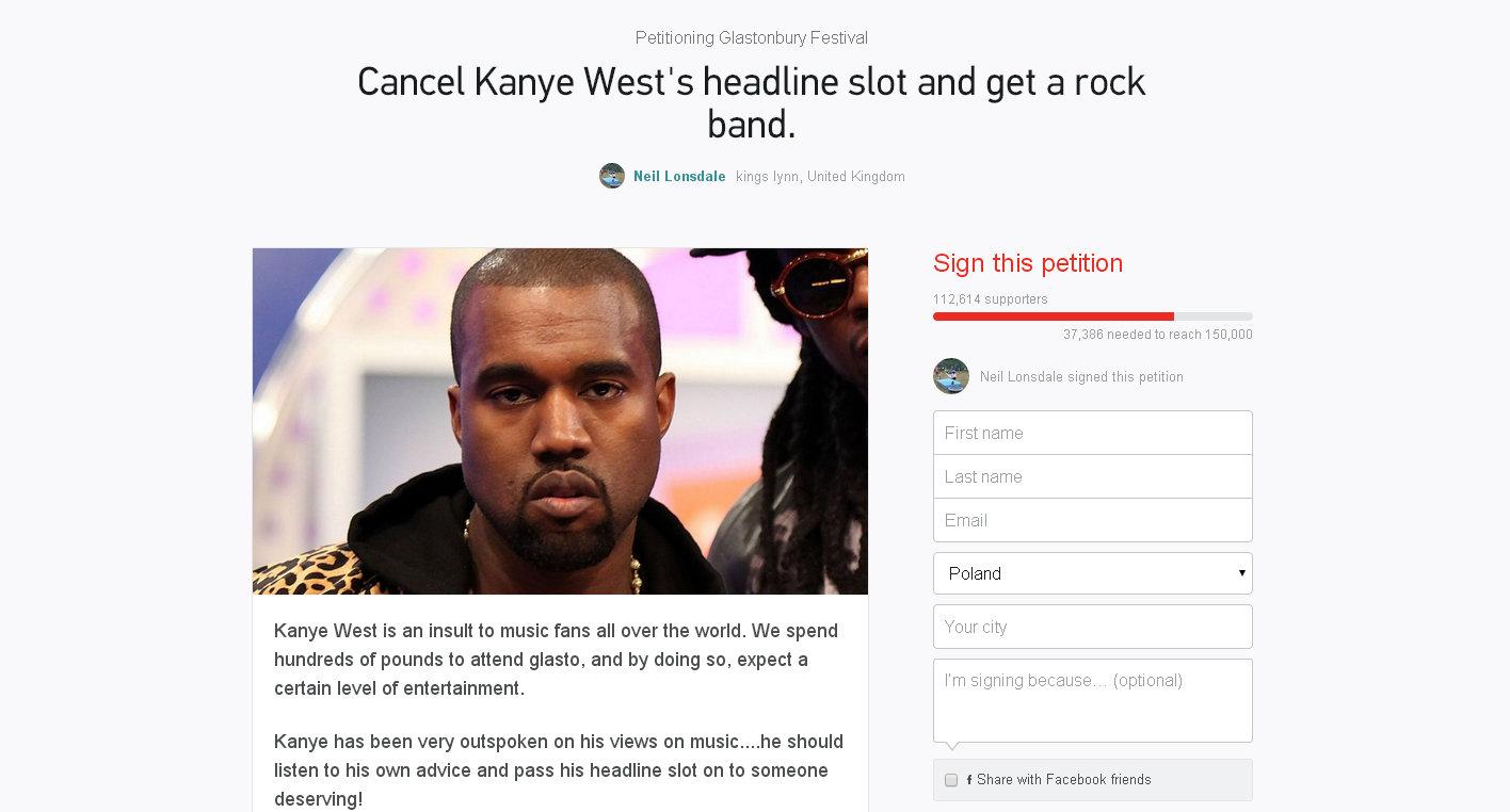 Kanye West Glastonbury petition